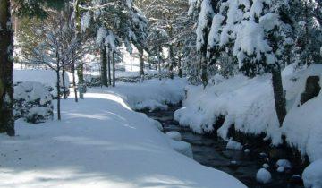 Camping de Belle Hutte-rivière sous la neige-Les pieds dans l'eau