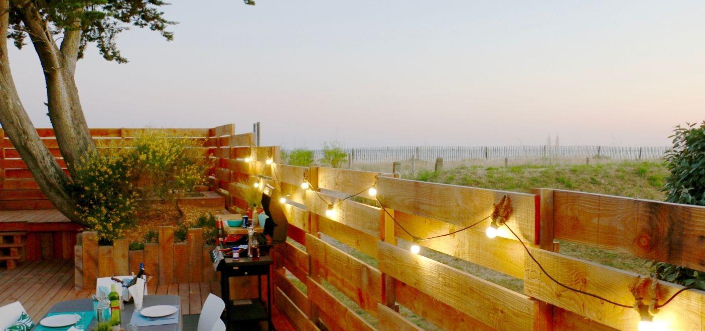Camping Landrezac Plage - Terrasse vue mer - Les pieds dans l'eau